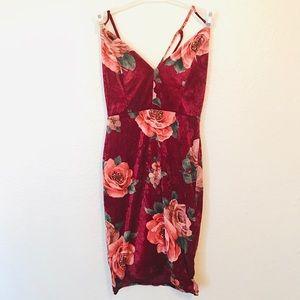 Rose Faux Velvet Dress